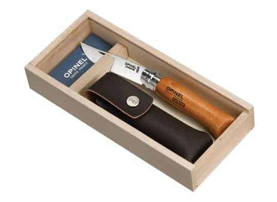 Opinel No.8 Classic Originals Carbon Steel Knife with Sheath Gift Set