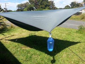gather water from tent tarp