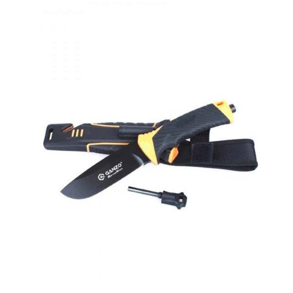 Ganzo gg8012 survival bushcraft knife - orange