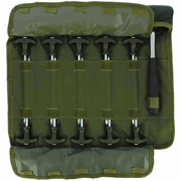 """Ngt bivvy peg set - 10 x 8"""" bivvy pegs and mallet in roll up case"""