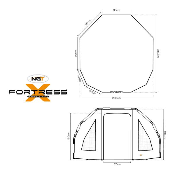 Ngt fortress with hood - 2000mm 2 man bivvy