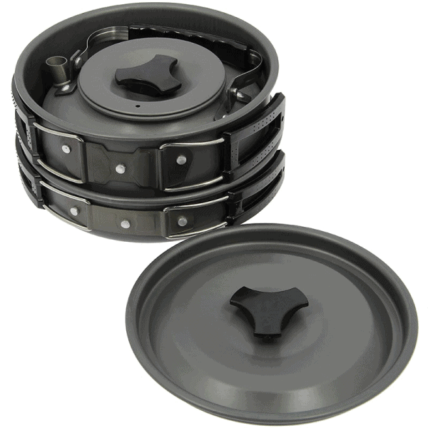 Ngt aluminium outdoor cook set - 1. 1 litre kettle, pot and pan in gun metal