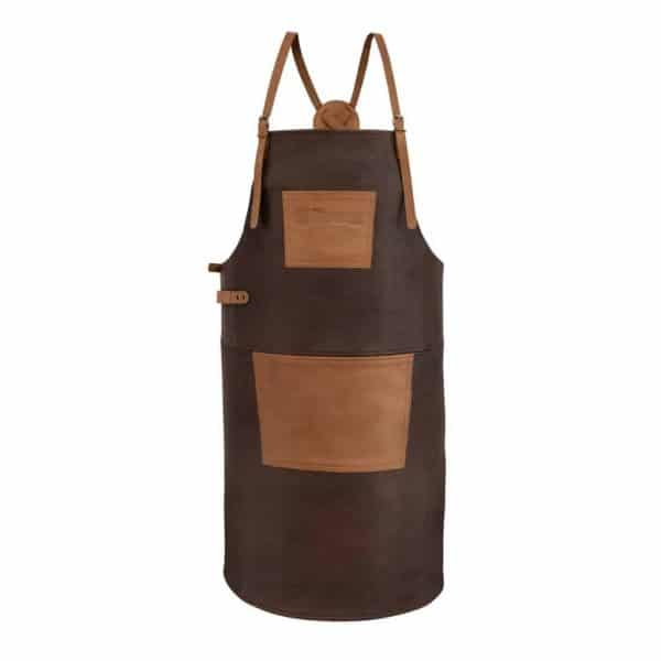 Petromax buff leather apron with cross back straps