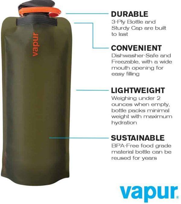 Vapur wide mouth 1. 0l folding water bottle (various colours)