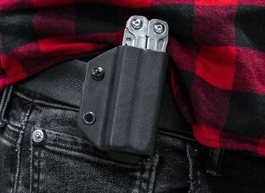 Clip & carry kydex sheath: leatherman wingman / sidekick / rebar / rev - black