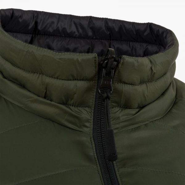 Highlander reversible down jacket, black and olive
