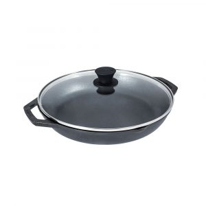 Lodge 12 inch Chef Collection Pan with loop handle and Glass lid