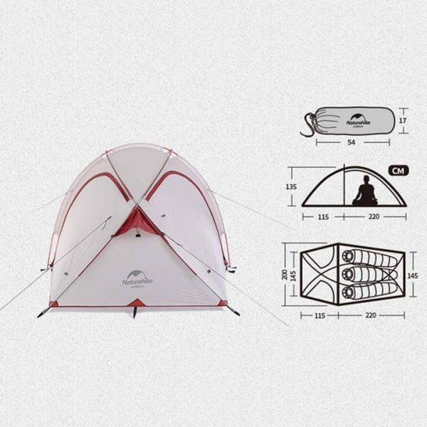 Naturehike hiby 2-3 person tent (grey / red)