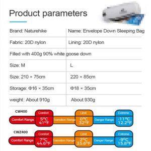 Naturehike goose down sleeping bag cw400 (various sizes)