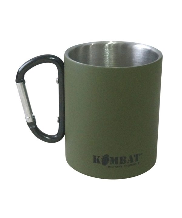 Kombat carabiner mug stainless steel - olive green