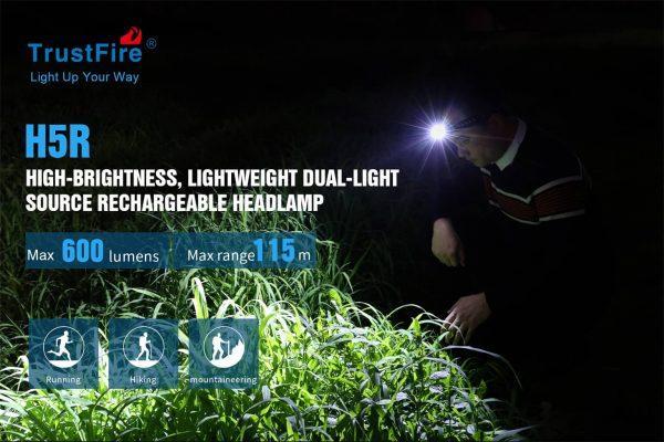 Trustfire h5r headlamp 600 lumens 18650 battery light ip68
