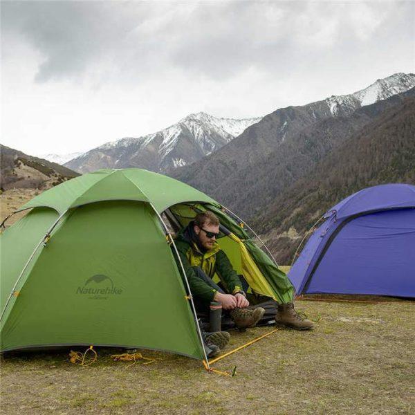 Naturehike cloud peak 2 man tent 4 seasons 20d - green with mat