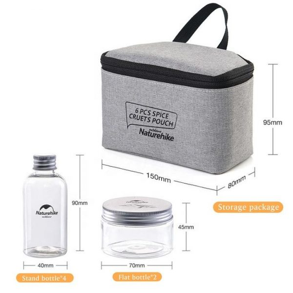 Naturehike outdoor tableware bbq 6 in 1 seasoning bottle containers set